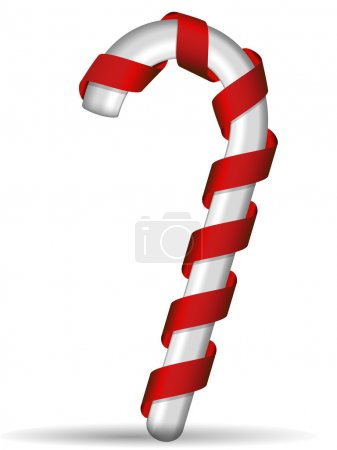 Photo for Red and white candy cane, isolated on white background - Royalty Free Image