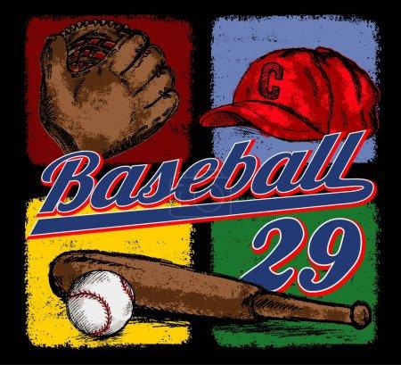 Baseball grunge equipment or print illustration