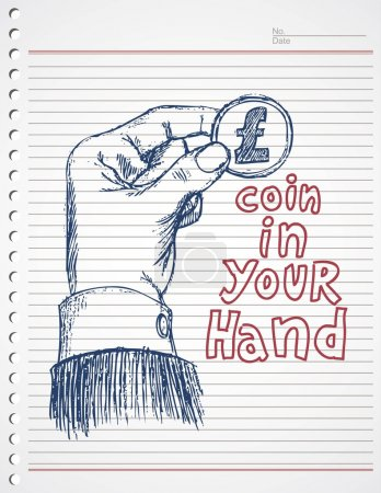 Doodle hand and pound coin