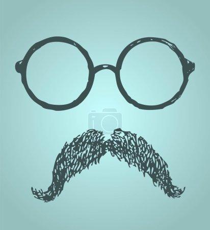Glasses and mustache vintage illustration