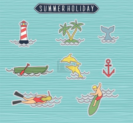 Summer holiday or beach label set