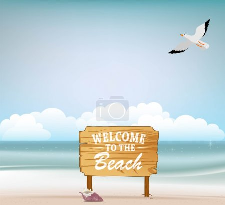 Blank wood as welcome sign on the beach