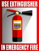 USE EXTINGUISHER TO REMOVE FIRE POSTER OR PAMPHLET ICON