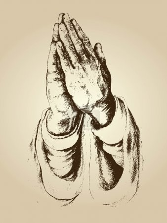 illustration vector of praying hands and faith