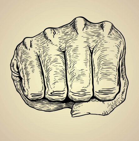 vector illustration  of  human hand punching or knuckle