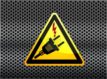 Electric plug sign icon. Power energy symbol with carbon background