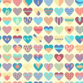 Vector seamless  patterned 72 hearts each heart is different and grouped individually   for easy editing