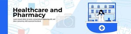 Illustration pour Conception de bannière Web de magasin de soins de santé et de pharmacie. femme fournissant un service en pharmacie shop.header ou pied de page bannière. - image libre de droit