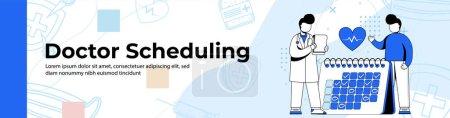 Illustration pour Docteur Scheduling Web Banner Design. un homme planifiant un examen avec une bannière doctor.header ou footer. - image libre de droit