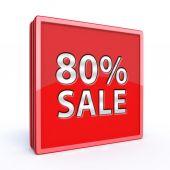 Prodej osmdesát procent čtvercovou ikonu na bílém pozadí