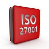 Čtvercová ikona ISO 27001 na bílém pozadí