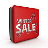 Zimní prodej čtvercovou ikonu na bílém pozadí