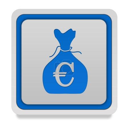Euro money bag square icon on white background