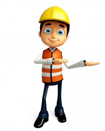 Worker with presentation pose