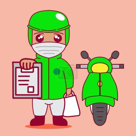 Illustration pour Illustration de dessin animé mignon d'un livreur avec un masque montrant un reçu de livraison - image libre de droit