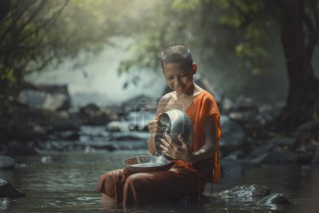 Photo for Asian, Novice monk's alms bowl. - Royalty Free Image