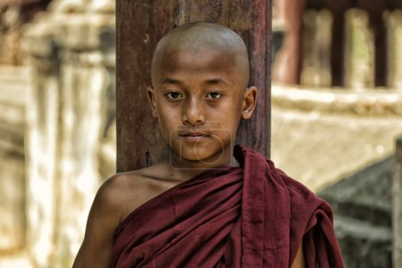 Photo for Novice boy Buddhist monk in  Burma - Royalty Free Image