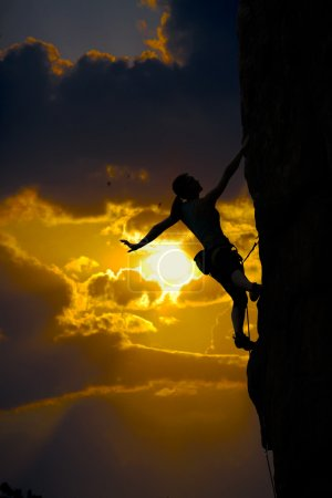 Climber and sunset