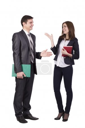 Photo for Young male and female, officially dressed, discussing and hand gesturing - Royalty Free Image