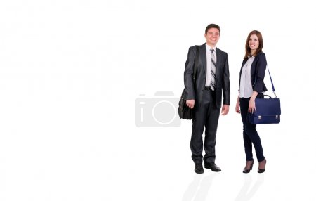 Photo for Young male and female students with bags officially dressed on white background - Royalty Free Image