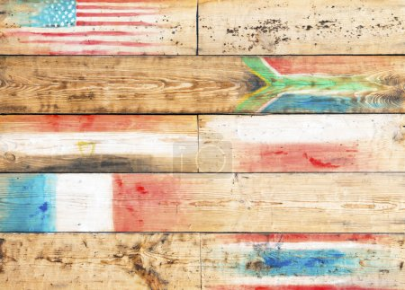Global conceptual wooden background