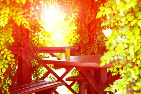 Photo for Green apple and glass orange juice located on wooden desk inside hotel pavilion surrounded curled tree leafs and sun beams on background - Royalty Free Image