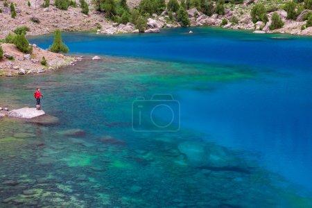 Mountain Lake and Alone Traveler