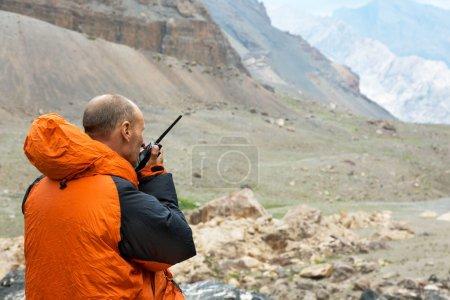 Man Talking on Radio