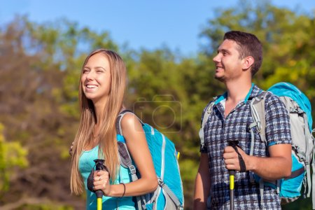 Excited Travelers Couple Young in Forest