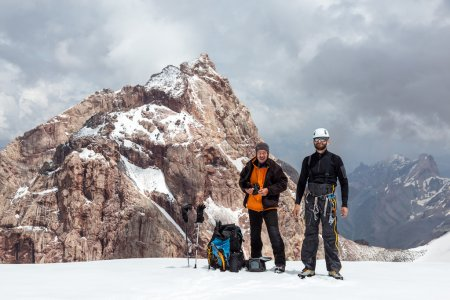 Two Climbers on Snow Pass