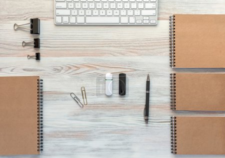 Wooden Desk with Business Items in Calm Classic Colors