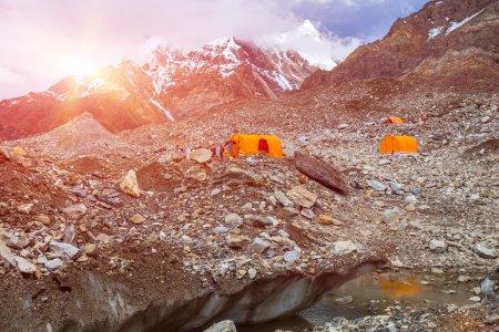 Orange Mountain Tents on Giant Glacier