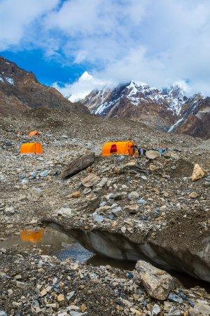 Orange Mountain Tents on Giant Glacier Vertical