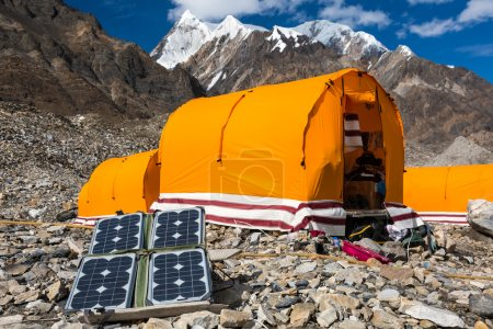 Solar Panel on Mountain Landscape for Generating Power for Expedition