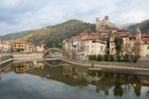 View of Dolceacqua medieval village on Nervia river