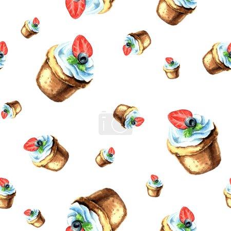 Cupcakes watercolor seamless pattern.