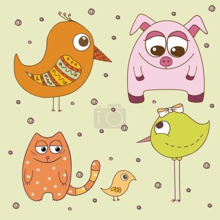 Illustration pour Oiseaux et animaux drôles - illustration vectorielle - image libre de droit