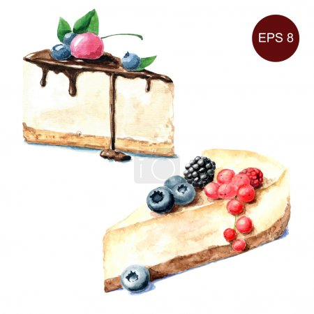 Illustration pour Desserts aquarelle dessinés à la main - illustration vectorielle - image libre de droit