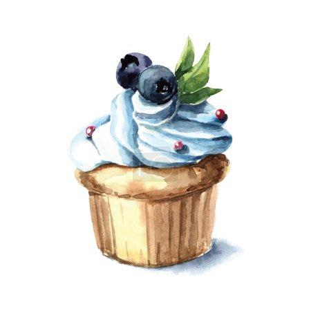 Illustration pour Cupcake aquarelle dessiné à la main - illustration vectorielle - image libre de droit