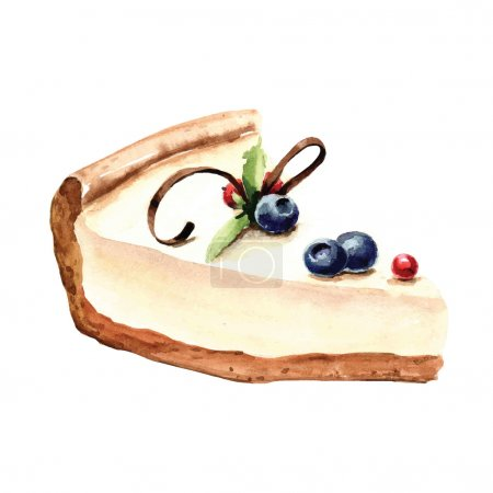 Illustration pour Gâteau à l'aquarelle dessiné à la main - illustration vectorielle - image libre de droit