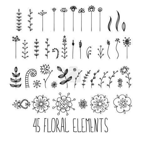 Floral hand-sketched  elements