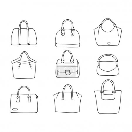 Hand drawn  handbags.