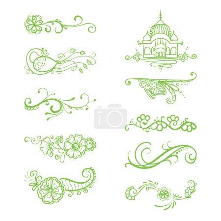 Hand-sketched floral vignettes.