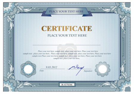 Illustration for Certificate or coupon template with vintage border - Royalty Free Image