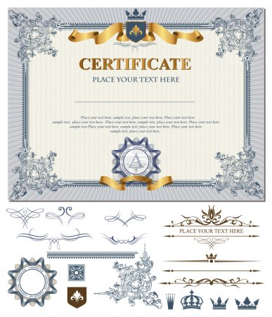 Illustration for Certificate or coupon template with vintage border and design elements - Royalty Free Image