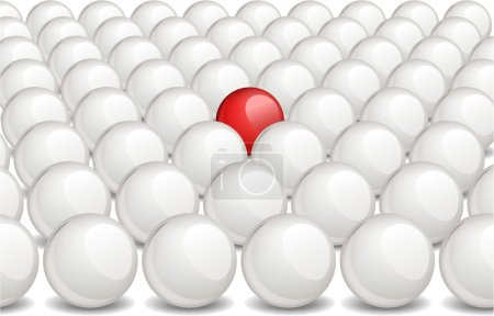 Red ball within white ones