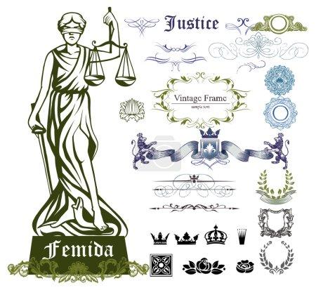 Set of justice symbols