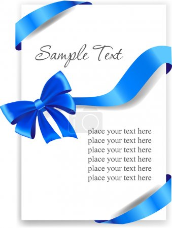 Illustration for Greeting card or holiday background with glossy blue gift bow and ribbons - Royalty Free Image