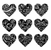 Vector Tribal hearts in black and white for tattoo