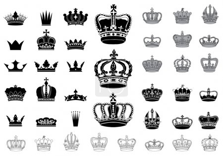 Illustration for Set of 40 detailed crowns isolated on white background - Royalty Free Image